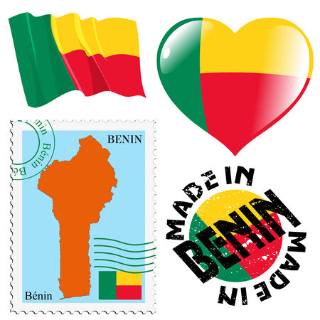 set of different symbols in national colours of Benin