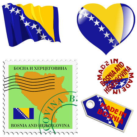 set of different symbols in national colours of Bosnia Vector