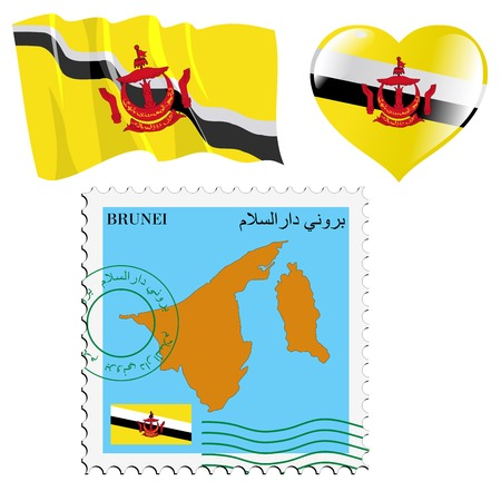 map of brunei: set of different symbols in national colours of Brunei Illustration
