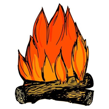 warmness: hand drawn, cartoon, sketch illustration of campfire