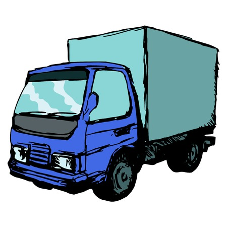 hand drawn, cartoon, sketch illustration of small truck Vector