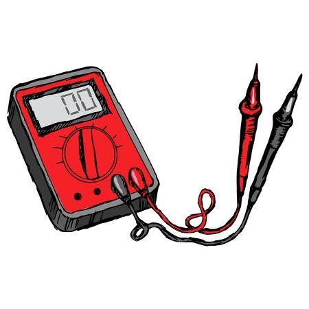 hand drawn, cartoon illustration of multimeter Stock Vector - 24058569