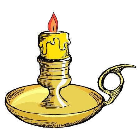 mantel: hand drawn, cartoon, sketch illustration of candlestick mantel Illustration