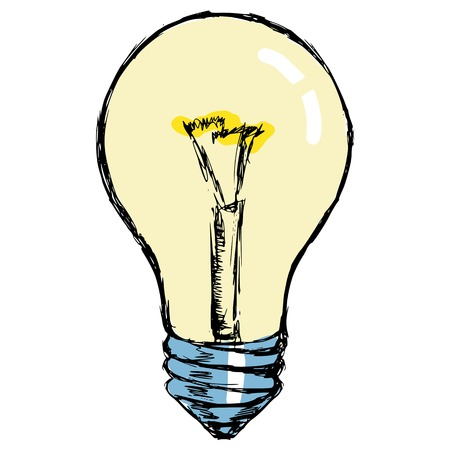 hand drawn, cartoon, sketch illustration of incandescent lamp Vector