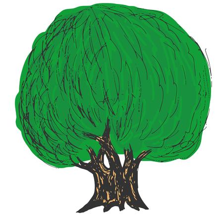 hand drawn cartoon: dibujados a mano, dibujos animados, ilustraci�n esbozo de �rbol verde