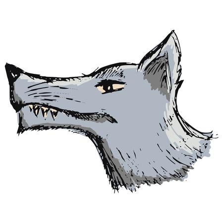 hand drawn cartoon: dibujados a mano, dibujos animados, ilustraci�n boceto de lobo de la historieta Vectores