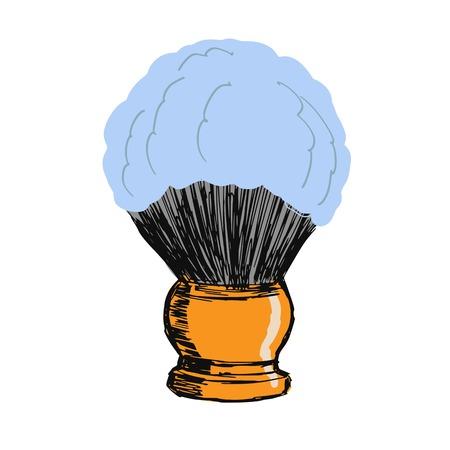 shaving brush: hand drawn, sketch, cartoon illustration of shaving brush