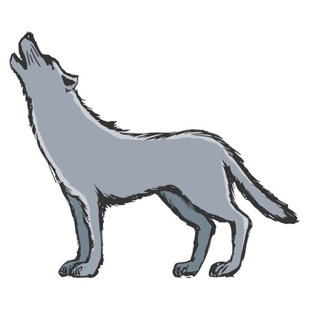 hand drawn, sketch, cartoon illustration of wolf Vector