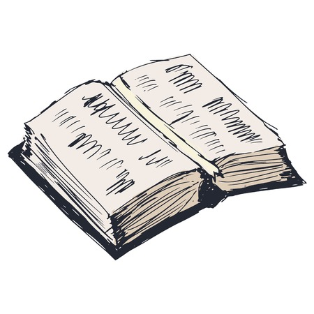 sketch illustration of open book Vector