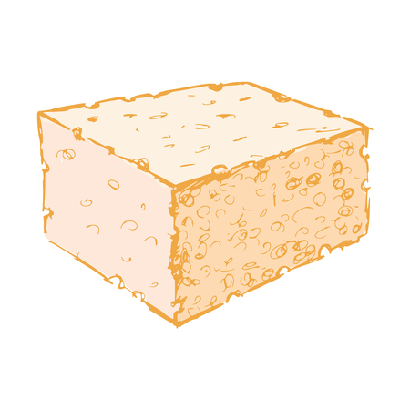 hand drawn, cartoon, sketch illustration of bath sponge Vector