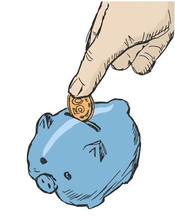 hand drawn, cartoon, sketch illustration of piggy bank Vector