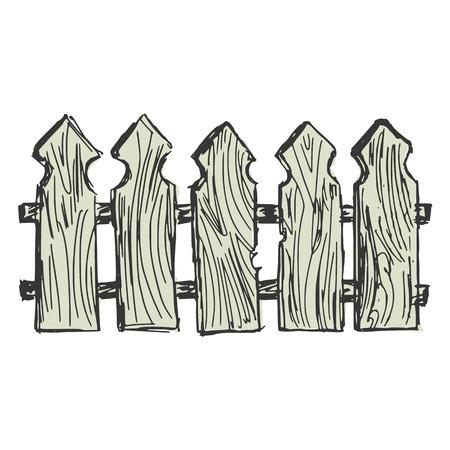 hand drawn cartoon: dibujados a mano, dibujos animados, ilustraci�n boceto de la cerca de madera