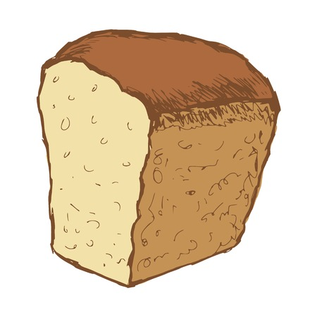 hand drawn, cartoon, sketch illustration of bread Vector