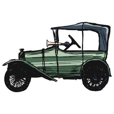 hand drawn, sketch, cartoon illustration of retro car Vector