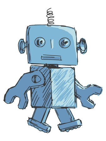 hand drawn, cartoon, sketch illustration of children robot Vector
