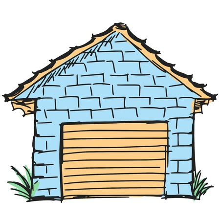 hand drawn, sketch, cartoon illustration of garage Vector