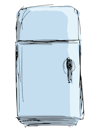 hand drawn, sketch, cartoon illustration of vintage fridge Vector