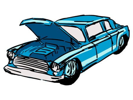hand drawn, sketch, cartoon illustration of car hood Vector