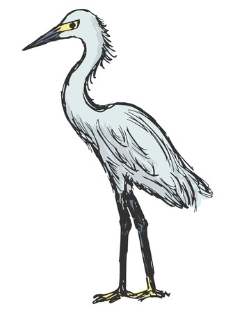 hand drawn, cartoon, sketch illustration of heron Vector