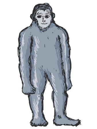 daemon: hand drawn, sketch, cartoon illustration of bigfoot Illustration