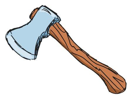 capital punishment: hand drawn, sketch, cartoon illustration of axe Illustration