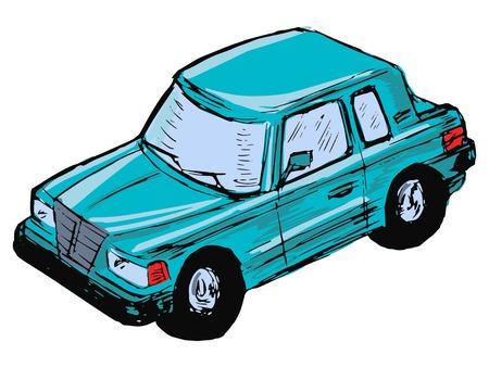hand drawn, sketch, cartoon illustration of toy car Vector