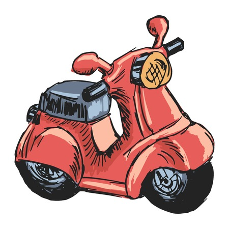 hand drawn, sketch, cartoon illustration of toy scooter Vector