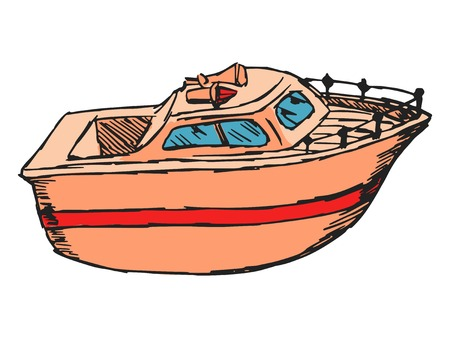 hand drawn, cartoon, sketch illustration of motor boat Vector