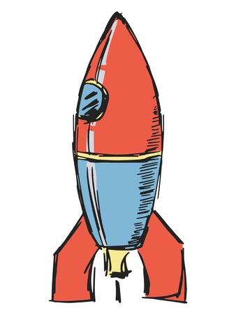 hand drawn, sketch, cartoon illustration of rocket Vector