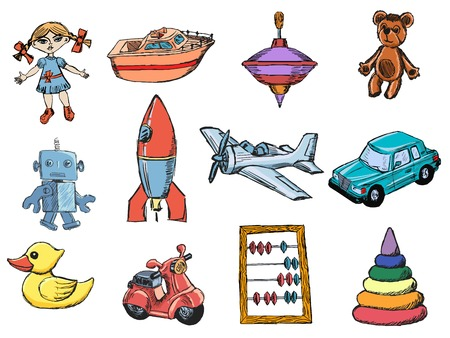 set of sketch illustrations of the toys Vector