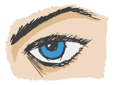 hand drawn, cartoon, sketch illustration of an eye Vector