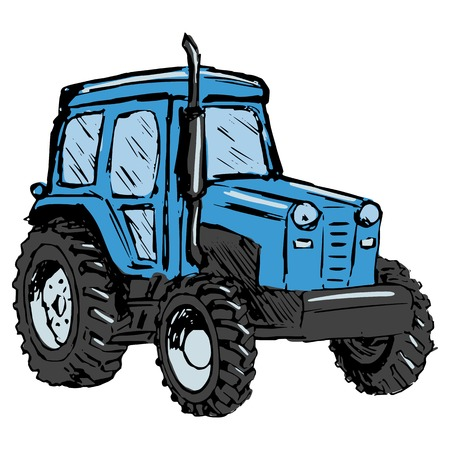 hand drawn, cartoon, sketch illustration of tractor Vector