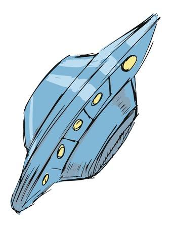 kidnap: hand drawn, cartoon, sketch illustration of flying UFO