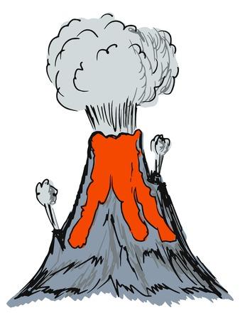 ash cloud: hand drawn, sketch, cartoon illustration of volcano Illustration