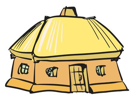 thatched: hand drawn, sketch, cartoon illustration of Ukrainian house Illustration