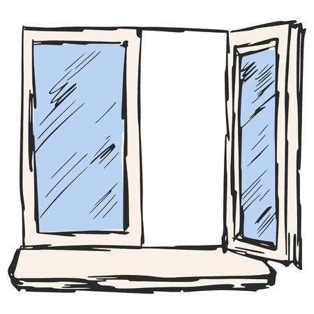 hand drawn, sketch, cartoon illustration of window Vector