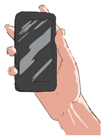 surfing the net: hand drawn, sketch of hand with smartphone