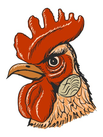 rooster at dawn: hand drawn, sketch, cartoon illustration of rooster