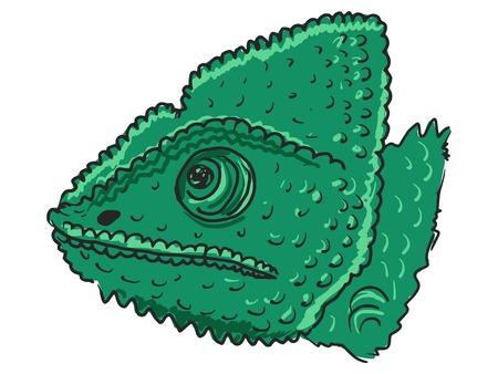 chamaeleo: hand drawn, sketch, cartoon illustration of chameleon