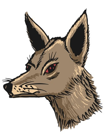 hand drawn, sketch, cartoon illustration of jackal Vector