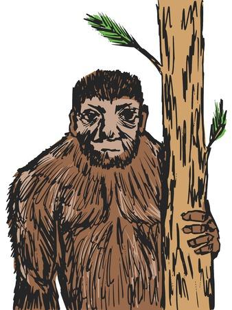 hand drawn, sketch, cartoon illustration of bigfoot Vector