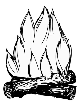 hand drawn, cartoon, sketch illustration of campfire Vector