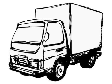 hand drawn, cartoon, sketch illustration of small truck Vector