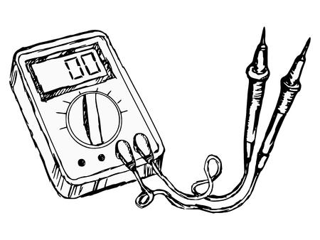 electrical engineer: hand drawn, cartoon, sketch illustration of multimete