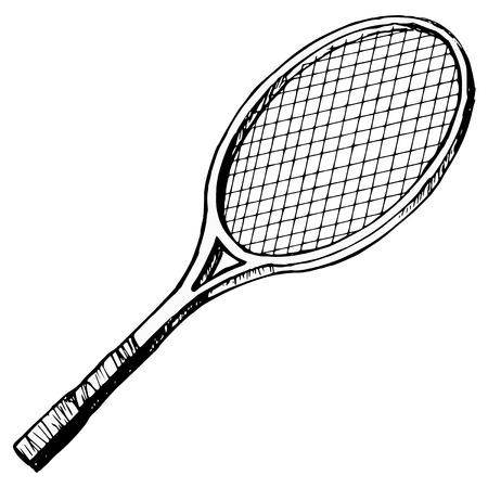 basketball net: hand drawn, cartoon, sketch illustration of tennis bat
