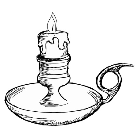 hand drawn, cartoon, sketch illustration of candlestick mantel Vector
