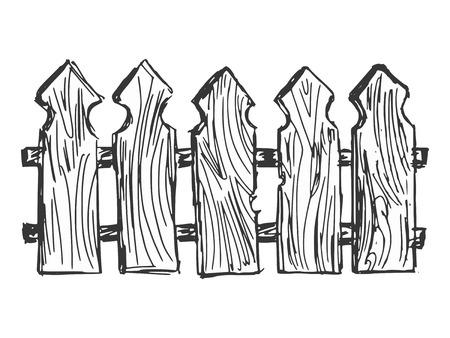 hand drawn, cartoon, sketch illustration of wooden  fence Vector