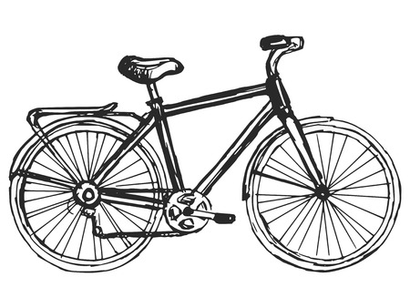 hand drawn, schets, cartoon illustratie van fiets