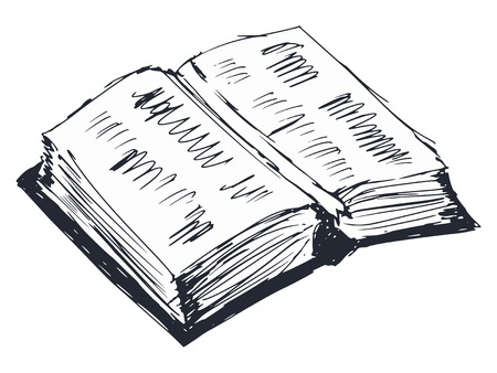 hand drawn, cartoon, sketch illustration of open book Vector