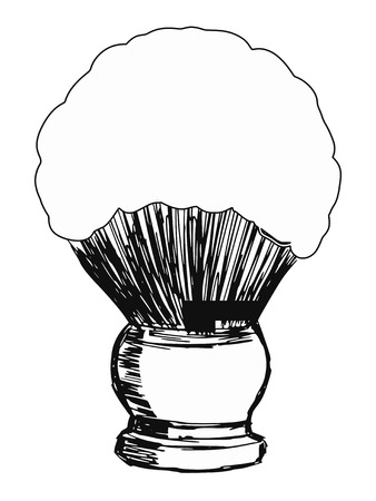 male grooming: hand drawn, sketch, cartoon illustration of shaving brush